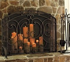 Candles in the fireplace when you cant have a fire.