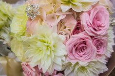 Pink and ivory bouquet with jewels.  Designed by www.opulencefloral.com  Muskoka Barrie GTA