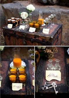 Then stock it with wizardry: | 31 Beautiful Ideas For A Book-Inspired Wedding  'liquid luck' shots