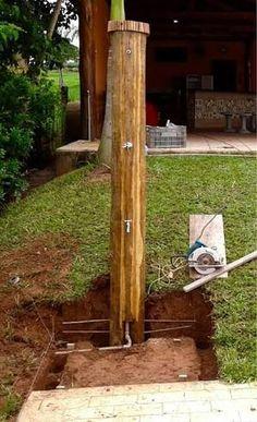 Resultado de imagem para ducha piscina madeira
