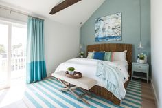 Brother vs Brother Coastal Bedroom Makeover on HGTV with Before and After Pictures! Featured on Completely Coastal: A classy blue bedroom makeover! Beach House Bedroom, Blue Bedroom, Beach House Decor, Bedroom Decor, Beach Houses, Home Decor, Master Bedroom, Bedroom Ideas, Beach Condo