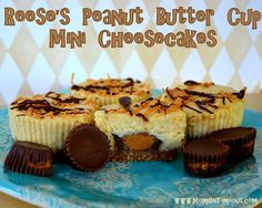 Reese's Peanut Butter Cup Mini Cheesecakes. Ingredients: graham cracker crumbs, sugar, butter, mini Reese's cups, light cream cheese, sugar, flour, eggs, vanilla, Reese's chips, chocolate chips, shortening