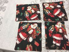Christmas Coasters, Santa Coasters, Hot Cocoa Coasters, Fun Coasters, Fabric Coasters, Mail Carrier Gifts, Teacher Gifts, Christmas Gifts by SewWhatbyMindyKay on Etsy