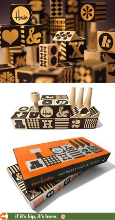 Beautiful handmade wooden blocks from Uncle Goose and House Industries come in a stunningly designed box.