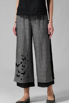 Purchase Butterflies Print Layered Frog Button Pants For Women from Sirzua Stuffs on OpenSky. Share and compare all Casual Pants in . Wide Leg Linen Pants, Vintage Pants, Elastic Waist Pants, Creation Couture, Plus Size Casual, Printed Linen, Butterfly Print, Cotton Pants, Mode Outfits