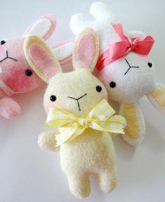 Felt Bunny Softie Sewing Pattern  Tutorial  by preciouspatterns