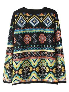 Cozy Multicolor Geometric Pattern Knit Sweater