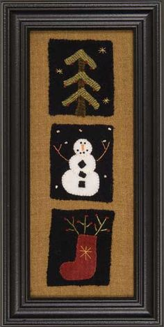Winter, Seasons In Wool, wool appliqued and embroidered