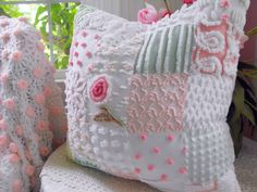 Plump Pink And Green Quilted Vintage Chenille Patchwork Pillow Rosebud
