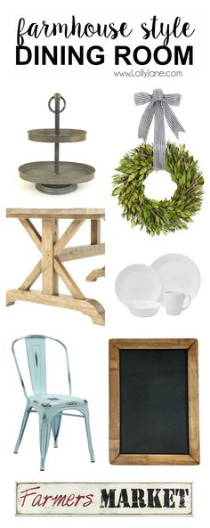 Farmhouse style dining room accessories. Want to replicate the popular farmhouse style dining room? Here are some great tips on what to buy to get that great Fixer Upper farmhouse style decor!