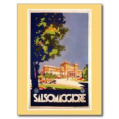 Vintage Salsomaggiore Italian travel poster postcards, greeting cards, large fridge magnets