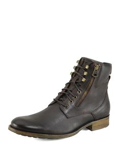Campbell Short Lace-Up Boot, Dark Brown - Andrew Marc