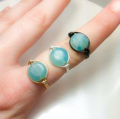 Ring of Courage  Amazonite Wire Wrapped Ring  Gold by JBellsGems