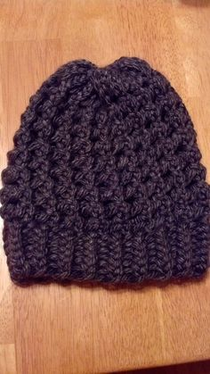 Charcoal Patterned Loom Knit Beanie - Down Home Girl
