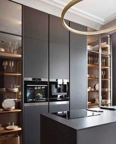 New kitchen remodel ideas modern design trends 45 ideas Modern Kitchen Interiors, Modern Kitchen Cabinets, Modern Kitchen Design, Interior Design Kitchen, Kitchen Industrial, Kitchen Shelves, Modern Kitchen Lighting, Marble Interior, Bar Cabinets