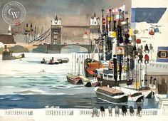 View from London Bridge, 1959, California art by Dong Kingman. HD giclee art prints for sale at CaliforniaWatercolor.com - original California paintings, & premium giclee prints for sale