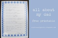 Father's Day Printable : all about my dad