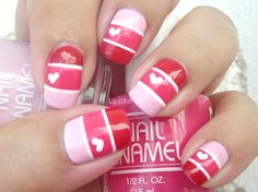 Red, dark pink and light pink with white for the heart and line details.