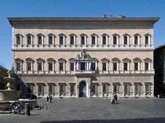 Palau Farnese: tercera planta i cornisa de la façana; tercer pis del pati (1546)