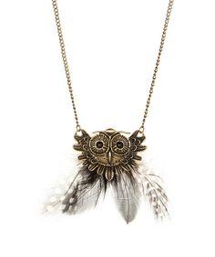 Brass Owl Feather Pendant Necklace #zulily #zulilyfinds