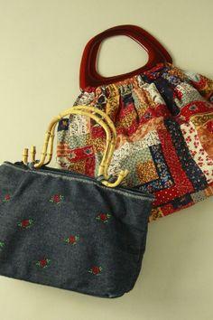 Denim and flower pattern bag / デニム地花とパッチワーク柄のガーリーなバッグ2点セット   #Kimono #Japan  http://global.rakuten.com/en/store/aiyama/