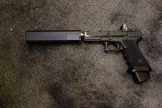 ZEV Technologies Custom GlockWORX Glock 17 (G17) 9mm Pistol with Trijicon RMR Dual Illumination Mini Red Dot Sight/Reflex Sight and Silencerco Osprey 9 Pistol Silencer/Sound Suppressor