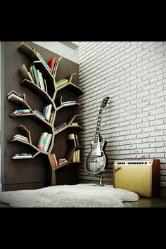Tree Book shelves In the girls room, gothic purple paint, and some stuffed animals.