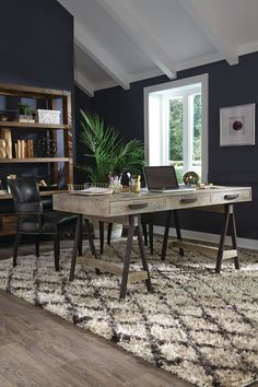 There is no longer an excuse to not organize a home office. Our Juliana Sawhorse Reclaimed Wood Desk is designed to lend a statement and purpose to a study or den. Our rustic desk is crafted of salvag Home Office Space, Home Office Desks, Home Office Furniture, Furniture Ideas, Small Office, Rustic Furniture, Office Lounge, Furniture Design, Workspace Desk