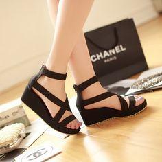 定做大码凉鞋40-43号中跟女鞋坡跟厚底松糕舒适性感罗马潮休闲鞋