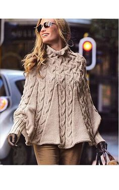 Hand knitted poncho with sleeves in wool for door BeautifulSunrise