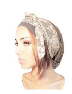 Unique pre tied head scarf for snoods, head scarves, tichel, hair snood, chemo head scarf, and bandana wearers. This taupe grey brownish pre tied