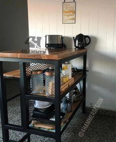 Furniture Board, Steel Furniture, Diy Kitchen Island, Rustic Kitchen, Industrial Design Furniture, Modern Loft, Interior Design Kitchen, Sweet Home, New Homes