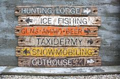 Hunting Decor Cabin Signs Large HUNTING signs Wood Ice Fishing,Guns Ammo Beer, Snowmobiling Taxidermy Outhouse Hunter Cabin Decor Distressed Hunting Lodge Ice Fishing Guns Ammo Beer Rustic Distressed Wood Sign Set Hunter by TheUnpolishedBarn Hunting Signs, Hunting Lodge Decor, Deer Hunting, Ski Decor, Rustic Cabin Decor, Distressed Wood Signs, Rustic Wood Signs, Wooden Signs, Hunters Cabin