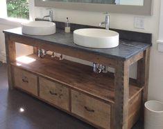 Rustic Industrial Vanity - Reclaimed Barn Wood Vanity w/Sliding Doors Rustic Vanity, Rustic Bathroom Vanities, Bathroom Vanity Tops, Bathroom Storage, Barnwood Vanity, Bathroom Ideas, Barn Bathroom, Primitive Bathrooms, Reclaimed Barn Wood
