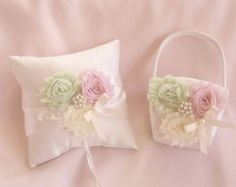 Pink Flower Girl Basket Pink Coral Ring Bearer by TheMomentWedding
