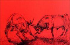 Ki lesz a legény a csordában ? Pittkréta , plakátkarton Who will be the lad in the herd? Pitt Crete, poster board 35 x 50 cm