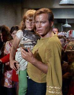 "AWWW!! >> William Shatner holding one of his own children. Guest star on ""Miri"" Star Trek TOS"