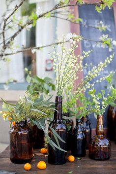 lovely amber bottles + florals / sf kinfolk brunch by i art u, via Flickr