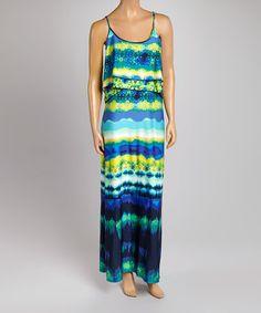 Look what I found on #zulily! Blue Tie-Dye Stripe Maxi Dress #zulilyfinds