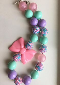 Pastel chunky bead necklace.. chunky bead necklace.. pink and purple necklace.. girls necklace