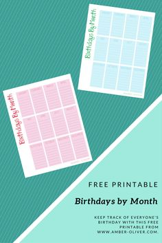 Keep track of everyone's birthday with this FREE PRINTABLE