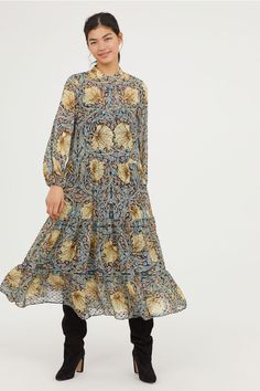 5f116d098ae9 WILLIAM MORRIS & CO. x H&M. Maxi dress in an airy, patterned, textured  weave with a small stand-up collar, concealed buttons at the top and long  sleeves wit