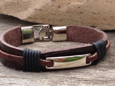 FREE SHIPPING-Men's Bracelet,Leather Bracelet,Silver Leather Bracelet,Brown Men Bracelet,Mens Leather Bracelet, Cord Bracelet,Plate Bracelet by Bricelets on Etsy https://www.etsy.com/listing/200037867/free-shipping-mens-braceletleather