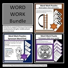 Word Work Puzzles Bundle consists of three products.Ideal activities for your literacy center. These products are also available to be purchased separately. Word Ladders, Critical Thinking Activities, P Words, Higher Order Thinking, Thematic Units, Upper Elementary, Word Work, Literacy Centers, Classroom Activities