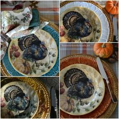 A Proud Tom Turkey provided little table inspiration with Thanksgiving a couple of weeks away! Along with new Fresco Turkey Plates on sale from Pottery Barn. This table came together by happenstan… Thanksgiving Plates, Thanksgiving Tablescapes, Holiday Tables, Thanksgiving Holiday, Turkey Table, Turkey Plates, Tom Turkey, Christmas Entertaining, Autumn Home