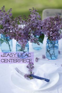 Lilac's and Blue Mason Jars for an outdoor dining centerpiece ~ Creative Cain Cabin