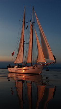 Sailboat sailing at sunset Yacht Boat, Sail Away, Wooden Boats, Tall Ships, Water Crafts, Belle Photo, Canoe, Sailing Ships, Kayaking