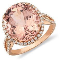 Blue Nile Morganite and Diamond Ring in Gossip Girl ($1,800) ❤ liked on Polyvore featuring jewelry, rings, accessories, pink, joias, blue nile, bridal diamond jewelry, bride jewelry, bridal jewelry and diamond jewelry