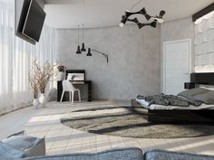 An oversized circular rug interrupts the linear design of the scheme, creating a welcome relief from sharp edges.