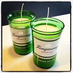 Hand Poured Gin Martini Scented Soy Candle in Cut Tangueray Gin Bottle - I want these!
